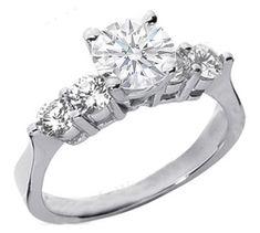 Elegant Engagement Rings 1.00Ct Diamond White Gold Solitaire