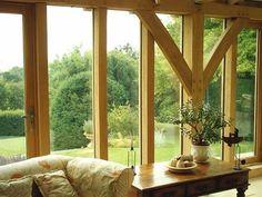 Glazed oak frame detail, by Roderick James Architects