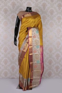 Light #mustard #green #kanchipuram silk beautifying saree with multicoloured border -SR11603