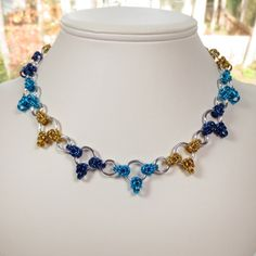 Half Byzantine Chain Mail Necklace, Blue, Gold, Turquoise, Chainmaille Jewelry