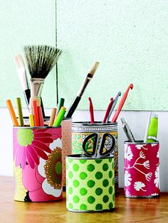 Reuse tin cans and cover with paper to #upcycle and organize