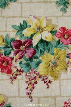 Vintage Home - 1930s Floral and Brick Design Linen.