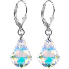 Sterling Silver Austrian Crystal Aurora Baroque Dangle Earrings