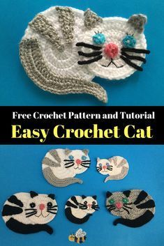 Learn how to make this crochet cat with my beginner pattern and video tutorial at Kerri's Crochet. Get this easy cat crochet pattern and video tutorial at Kerri's Crochet and learn how to make a cute crochet cat. Chat Crochet, Crochet Mignon, Free Crochet, Beginner Crochet, Ravelry Crochet, Crochet Patterns For Beginners, Easy Crochet Patterns, Crochet Designs, Knitting Patterns