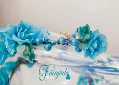 Teal Blue berried Fairytale floral headband by greenearthstudio, $32.40