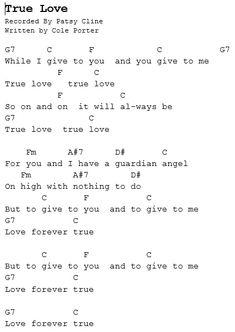 Sheet Music Quot True Love Quot Cole Porter Easy Piano