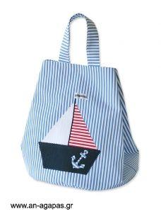 Τσάντα βάπτισης με καράβι Goody Bags, Ideas, Tote Bags, Satchel Handbags, Purses, Coin Purses, Thoughts