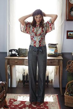 ELEVENSES Anthropologie Wide Leg Herringbone Pattern Welt Pockets Size 10   Clothing, Shoes & Accessories, Women's Clothing, Pants   eBay!