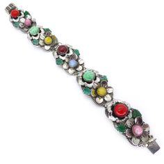Vintage Art Deco Czech Silver Metal Floral Rainbow Glass Cabochon Bracelet | Clarice Jewellery | Vintage Costume Jewellery