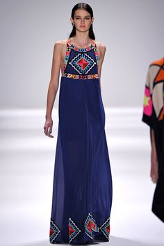 Love the geometric details on this long navy Mara Hoffman gown Fall 2013 RTW