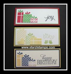 Your Presents stamp set, gift certificate or money holders.  Cased, tweaked from Mary Bush. www.starzlstamps.com