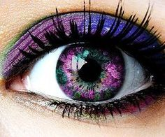 Purple and green flowered contacts