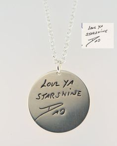 Personalized handwriting engraved necklace in sterling silver (up to 20 characters).\via Etsy.