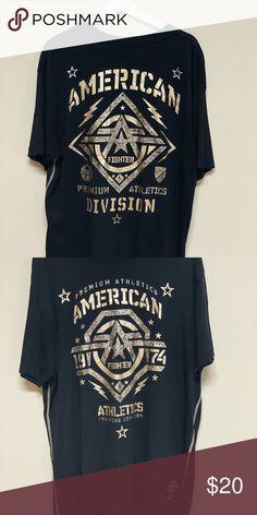 American Fighter Men/'s Faribanks Tee Shirt Black//Olive Green