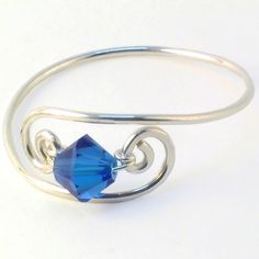 Sapphire Blue Crystal Scroll SterlingSilver Filled Ring