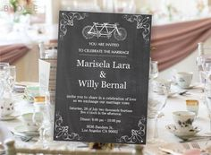 Printable Wedding invitation template Vintage bicycle on by Oxee, $7.00