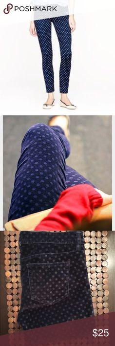 "J. Crew velvet navy polka dot ankle pants EUC, no flaws! 26"" waist J. Crew Pants Ankle & Cropped"