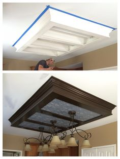 Before and after ... Looks so much better than the fluorescent lighting!! Cheap fix too since I already has the paint, faux ceiling tiles 2'x4' tin and fixtures from Home Depot. #homeremodelingbeforeandafter