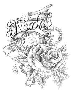 PapiRouge - Tattoo Zeichnungen My brother Mother Tattoos, Baby Tattoos, Skull Tattoos, Body Art Tattoos, Tattoos For Guys, Tattoo Sleeve Designs, Sleeve Tattoos, Tattoo Oma, Time Piece Tattoo