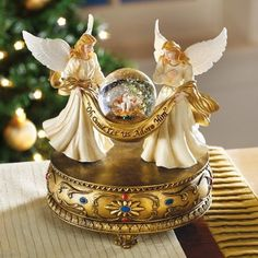 Christmas angels musical snowglobe