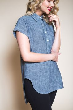 The Kalle Shirt & Shirt Dress Sewing Pattern - Closet Case Patterns - Available on The Fold Line Shirt Dress Pattern, Tunic Pattern, Pants Pattern, Pattern Print, Stylish Shirts, Stylish Outfits, Stylish Clothes, Simple Dresses, Nice Dresses