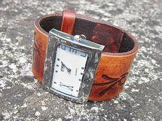 leon / Dámsky kožený remienok hnedý so vzorom, hodinky