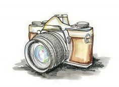 Hand drawn illustration of a photo camera on white background Stock Photo