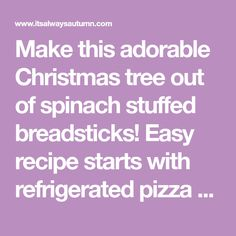 Make this adorable Christmas tree out of spinach stuffed breadsticks! Easy recipe starts with refrigerated pizza dough for a quick holiday appetizer. Pizza Appetizers, Holiday Appetizers, Holiday Recipes, Christmas Recipes, Tree Spinach, Spinach Dip, Breakfast Pastries, Bread And Pastries, Christmas Treats