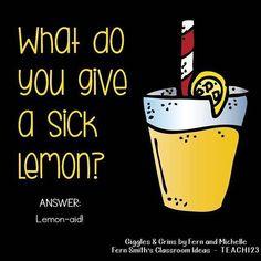 -Tonight's Joke for Tomorrow's Students!⠀ What do you give a sick lemon?⠀ Lemon-aid⠀ ⠀ Tonight's Joke for Tomorrow's Students!⠀ What do you give a sick lemon?⠀ Lemon-aid⠀ ⠀ See it Puns Jokes, Stupid Jokes, Funny Jokes For Kids, Corny Jokes, Funny Puns, Jokes Kids, Memes, Funny Jokes To Tell, Bad Puns