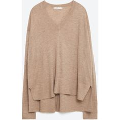 Zara Oversized Sweater ($30) ❤ liked on Polyvore featuring tops, sweaters, pink marl, beige top, over sized sweaters, oversized tops, marled sweater and zara sweaters