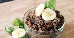Chocolate Banana Breakfast Quinoa  Serves 2 What You'll Need:  1/2 cup raw quinoa 1 cup + 1/4 cup almond milk 1/2 cup water Dash of sea salt 1 banana, 1/2 mashed, 1/2 cut into slices 2 teaspoons honey 2 teaspoons cocoa powder 1/2 teaspoon vanilla extract