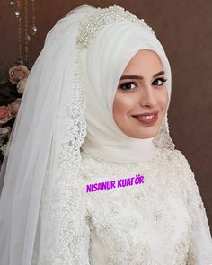 8,528 Beğenme, 12 Yorum - Instagram'da NİSANUR SAÇ TÜRBAN TASARIM... (@nsnur) Muslim Wedding Gown, Hijabi Wedding, Wedding Hijab Styles, Muslimah Wedding Dress, Muslim Wedding Dresses, Muslim Brides, Bridal Mehndi Dresses, Bridal Hijab, Bridal Veils