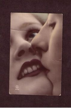 Vintage Tinted Real Photo French Postcard Kiss Kissing PC Paris