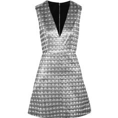 Alice + Olivia Clara metallic jacquard mini dress (83 BHD) ❤ liked on Polyvore featuring dresses, vestidos, silver, mesh panel dress, metallic dress, mesh insert dress, metallic cocktail dress and metallic mini dress