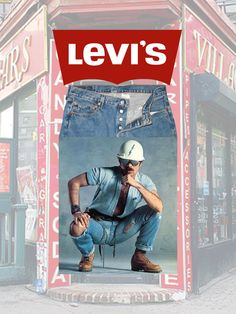 Levi's 501 Button Fly Jeans — David Hodo, Village People Construction Worker — Background: Village Cigars at Christopher Street & 7th Avenue, New York