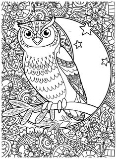 Owl coloring page Coloring Pages To Print, Coloring Book Pages, Printable Coloring Pages, Coloring Sheets, Fun Projects For Kids, Art Projects, Mandala Coloring, Pretty Pictures, Drawings