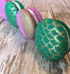 Mermaid macarons, decorated with imperial gold luster dust.