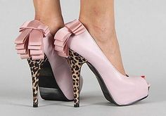 satin pink shoes with high heels leopard