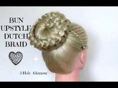 Bun Up Style With Dutch Braid On Top / Hair Tutorial / HairGlamour /HAIR STYLES - YouTube
