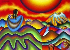 Meeting with Pachamama by Roberto Mamani Mamani. Oil and pastels.