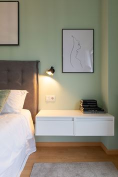 Floating Nightstand, Bed, Table, Furniture, Home Decor, Contemporary Style, Interior Design, Yurts, Floating Headboard
