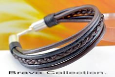 5B-380 Solid Sterling Silver & Leather New Armband Wristband Men Bracelet