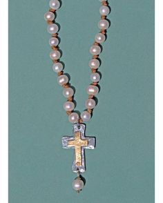 Johnny Loves June Christy Pearl Gold and Silver Cross Necklace  http://www.countryoutfitter.com/products/40984-christy-pearl-gold-and-silver-cross-necklace