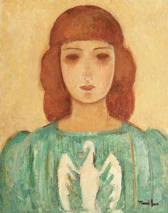 ALONGTIMEALONE: dappledwithshadow: Nicolae Tonitza (Romanian,... Vintage Wall Art, Vintage Walls, Mona Lisa, Artwork, Portraits, Paintings, Expressionism, Romania, Work Of Art