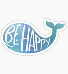 """""""Happy Whale"""" Stickers by ayalaya Stickers Cool, Preppy Stickers, Tumblr Stickers, Printable Stickers, Free Printables, Macbook Stickers, Phone Stickers, Simple Nail Designs, Aesthetic Stickers"""