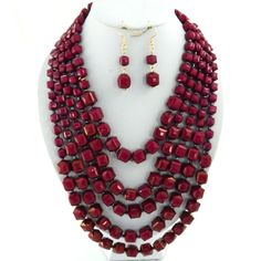 "Wine 24"" layered beads necklace set"