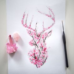I Watercolor Cherry Blossom Animals