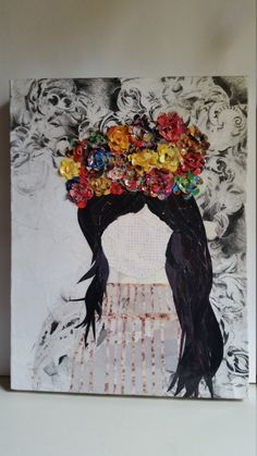 This is a mixed media canvas of a woman with a flower crown. The size of the canvas is Please let me know if you have any questions at all about the piece Cool Paintings, Mixed Media Canvas, Pictures To Paint, Art Pages, Dark Hair, Flower Crown, Cool Drawings, New Work, Moose Art