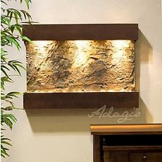 The Reflection Creek Wall Fountain is a horizontal oriented wall water feature with a simple, nature-inspired design that will enhance any room in your home or office. Indoor Wall Fountains, Indoor Fountain, Water Fountains, Waterfall Fountain, Wall Waterfall, Water Walls, Green Copper, Interior Exterior, Outdoor Walls