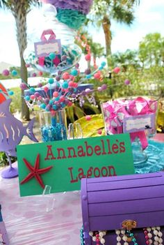 Under the Sea Birthday Party   Little Mermaid Birthday Party   Girl's Birthday Ideas   Lagoon Sign and Treasure Chest
